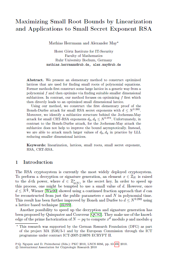 Maximizing Small Root Bounds by Linearization and Applications to Small Secret Exponent RSA.png